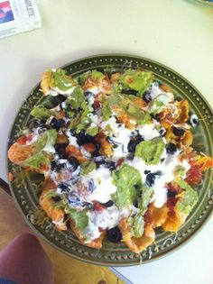 Keto nachos! Pork rinds and the fixens. Pork Rinds softened with butter before le fixens. Enjoy! - Imgur