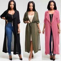 Wish | European Fashion Women Long Sleeved Cardigan Chiffon Shirt Jacket Lady Casual Long Thin Coat