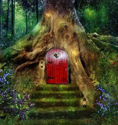 Fairy love  door handmade by fairies red wooden by FunnyBunny345
