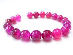 4 Perles Agate Rose Fuchsia   - 10 mm -