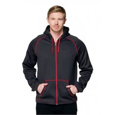 Tri-Mountain CF-2 Full zip hoody featuring our exclusive carbon fiber pattern. 8.5 oz. 100% polyester double-dyed full zip hooded sweatshirt. Featuring a contrast zipper placket and hood drawstring. Accented with contrast cover stitching along raglan sleeves and kangaroo pocket. Elastic cuffs and draw-cord bottom for a custom fit. #mensfashion #menstyle #hoodies