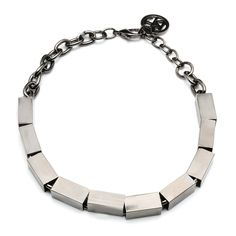 Silver Metal Cube Slider Necklace