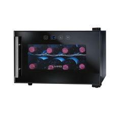 The Living by Nostalgia Electrics is an 8-bottle wine chiller every enthusiast will enjoy. This is a sleek, modern appliance that keeps your bottles cool and on display, yet is also discreet in look and sound. #winechiller
