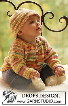 Baby Knitting Patterns Cardigan Summer Fruit / DROPS Baby – DROPS jacket and hat in 'fable'. Pants and … Baby Knitting Patterns, Knitting For Kids, Baby Patterns, Free Knitting, Drops Design, Cardigan Bebe, Knitted Baby Cardigan, Drops Baby, Pull Bebe