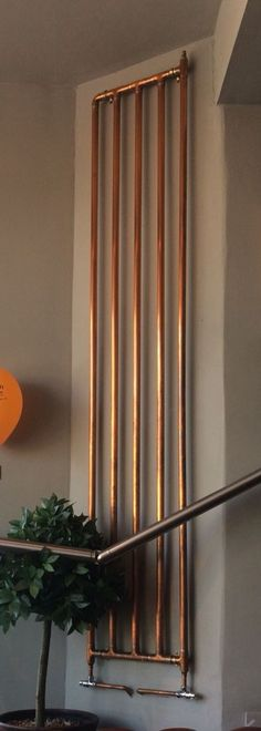 Copper radiator … - Plumbing Tips Copper Bathroom, Copper In Kitchen, Vertical Radiators, Pipe Furniture, Deco Design, Industrial Style, Plumbing, Home Projects, Decoration