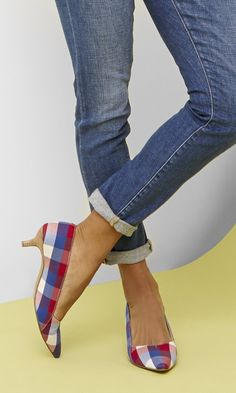 Summertime checkered kitten heel