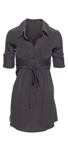 Chaser Button Front Long Sleeve Silk Shirt Dress in Vintage Black / Manage Products / Catalog / Magento Admin