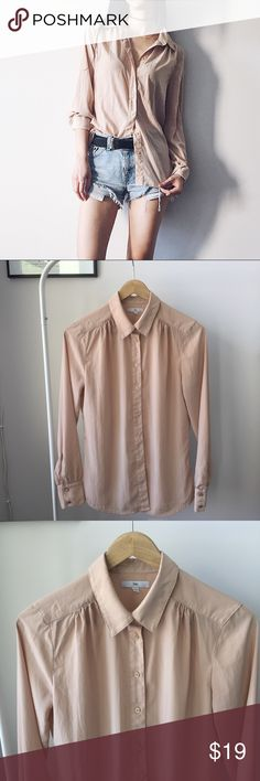 Nude Beige Button Up Blouse Chic 100% polyester button up shirt from Gap with ruching detail at the collar. In great used condition. // Photos are of me wearing the actual item. I'm 5'7 // 🚫 Unable to ship to PO Box addresses, sorry! Tops Blouses