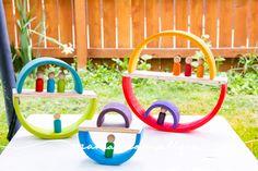 Super Simple DIY Semicircles and Planks for Extra Rainbow Fun - MamaMeganAllysa Rainbow Wood, Rainbow Rice, Simple Diy, Super Simple, Easy Diy, Grimms Rainbow, Wooden Building Blocks, Activities For Boys, Small World Play