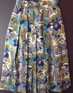 Geiger Collection Womens 38 8 Wool Skirt Long Pleated Lined Geometrical Blue   eBay