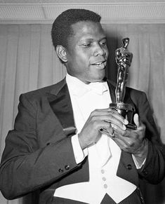 "Actor Sidney Poitier, the first African-American man to be nominated and to win an Oscar for Best Actor in the 1963 movie, ""Lilies of the Field""."