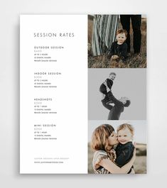 Photography Pricing Template Photography Price List | Etsy