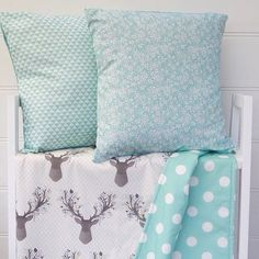 @danoah_baby - New release!! Introducing the Aqua Deer reversible cot quilt and 2 co-ordinating cushion covers.  Only available @danoah_baby #aquanursery #deernursery #deerhead Quilt $130 & Cushion covers $35 ea