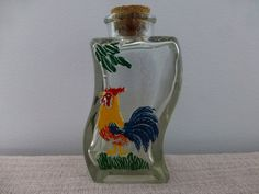 Rooster on Curved Glass Jar with Original Cork by ChicAvantGarde, $9.75
