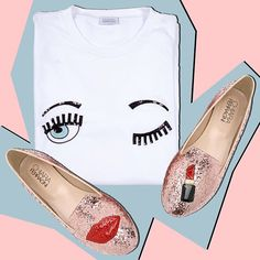 """""""Make-up"""" slippers and """"Flirting"""" t-shirt exclusively available online on www.chiaraferragnicollection.com #chiaraferragnishoes #CFflirting"""