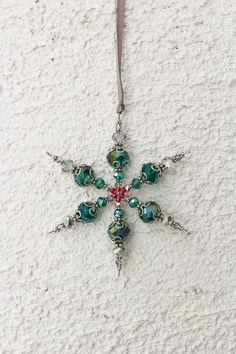 Glass beaded snowflake Teal Christmas ornament by MapleApple