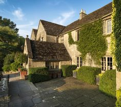 The main entrance at Calcot Manor near Tetbury in The Cotswolds, England