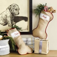 Burlap Dog Bone Stocking - Ballard Designs