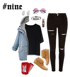 """""""#nine"""" by hayescomet on Polyvore featuring River Island, Chicwish, Rock 'N Rose, Yves Saint Laurent, Spallanzani, Sun Bum and Aéropostale"""