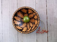 8 inch beechwood bowl-oak night garden design -one of a kind -woodburned bowl-hostess foodie gift