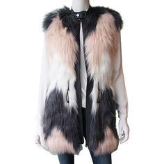 Pre-owned Rebecca Taylor Patch Faux Fur Vest ($310) ❤ liked on Polyvore featuring outerwear, vests, pink, pocket vest, patch vest, fake fur vest, pink vest and faux fur vest