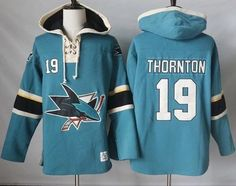 Sharks #19 Joe Thornton Teal Pullover Hoodie Stitched NHL Jersey