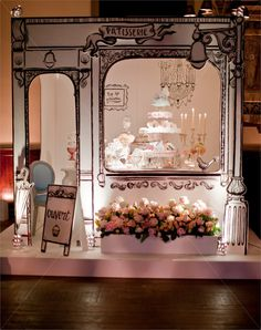 Cardboard Window Display - By Appointment Only Design, at One Mayfair ~ A Glamorous Evening that Showcased the Best of the UK Wedding Industry. Display Design, Booth Design, Store Design, Visual Display, Set Design, Store Concept, Vitrine Design, Paris Party, Credenzas
