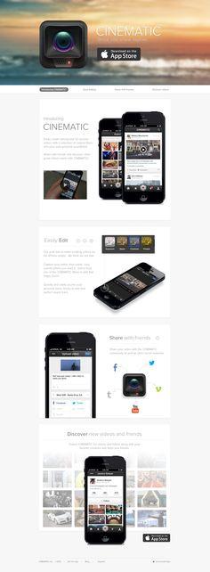 Cinematic iPhone App - Landing Page Mobile Ui Design, Web Ui Design, Web Design Gallery, Interface Design, User Interface, App Landing Page, Ui Web, Professional Logo Design, Web Application