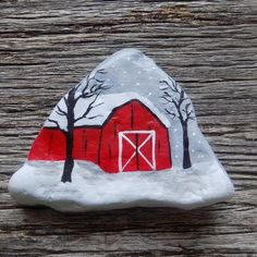 Hand painted rock, painted using acrylic paints and lightly coated with mod podge for protection. Please see pictures for sizing. This rock is not weather proof. Make great gifts and paperweights. Rock Painting Patterns, Rock Painting Ideas Easy, Rock Painting Designs, Pebble Painting, Pebble Art, Stone Painting, Painting Art, Paintings, Christmas Rock
