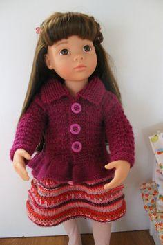 Tuto gilet poupée Gotz 50cm Gotz Dolls, Ag Dolls, Journey Girls, 18 Inch Doll, I Dress, Doll Clothes, Knit Crochet, Goth, Vogue