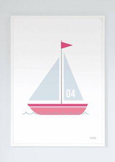 Numbered Sailing Boat Print