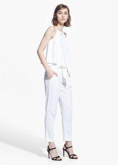 Pantalon texturé nœud