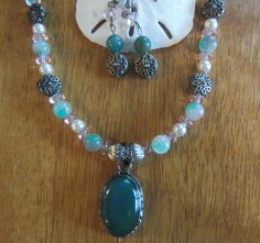 Green Onyx Necklace and Earring set #necklace   #gemstone necklace #onyx jewelry