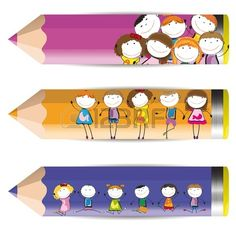 Background with happy kids and colorful crayons Stock Vector - 13567563
