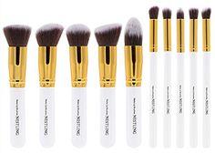 Nestling New 10 Pcs Premium Synthetic Kabuki Makeup Brush Set Cosmetics Foundation Blending Blush Eyeliner Face Powder Brush Makeup Brush Kitgolden White ** Read more reviews of the product by visiting the link on the image.
