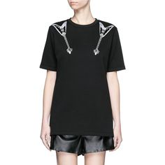 Acne Studios 'Eris' guitar patch appliqué T-shirt ($440) ❤ liked on Polyvore featuring tops, t-shirts, black, jersey top, applique t shirts, guitar tee, jersey tee and guitar top