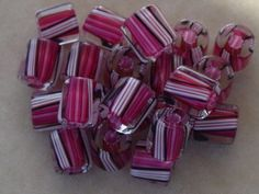 16 David Christensen Pink Black Stripe Hand Blown Designer USA Cane Glass Beads #DavidChristensen #CaneGlass