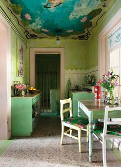 A Verdant Country Kitchen with a Striking Ceiling Mural — Kitchen Inspiration
