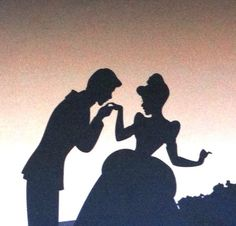 Prince Charming and Cinderella silhouette. Disney.
