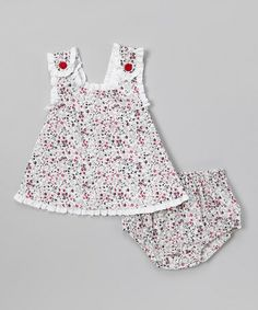 OMG so cute!!  White Floral Jumper & Diaper Cover - Infant by Les Petits Soleils by Fantaisie Kids
