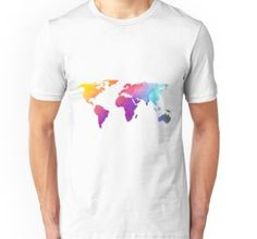 'Colorful World Map Design' T-Shirt by sagetypo World Map Design, Tshirt Colors, Wardrobe Staples, Female Models, Chiffon Tops, Classic T Shirts, Peace, Tees, Fabric