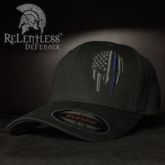 Thin Blue Line- Warrior Helmet- Flex Fit Ball Cap