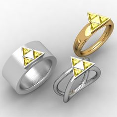 Three examples of Triforce Rings from the Legend of Zelda video games, though many other designs are possible to create your perfect ring!