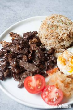 The marinade for this Filipino Beef Tapa tapsilog has a delicious combination of sweet, sour, and salty flavors - it makes me want to eat more! Serve with garlicky fried rice, crispy fried egg, fresh tomatoes and atchara - perfect for breakfast or any time of the day. Beef Tapa Recipe Filipino, Filipino Dishes, Filipino Recipes, Asian Recipes, Beef Recipes, Ethnic Recipes, Vegetarian Recipes, Asian Foods, Protein Recipes