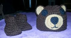 Bear booties and beanie.   Contact me to place custom order