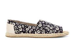 undefined Black Textile Floral Women's Open Toe Alpargatas