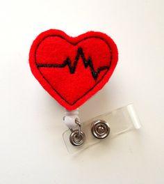 Beating Heart Retractable ID Badge Reel Cardiac by JeJeweled