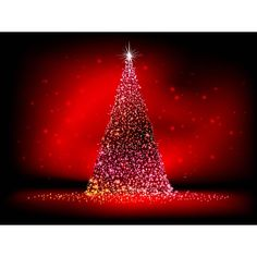 Free Vector abstract glowing Golden star Merry Christmas tree on red pattern background Christmas night template