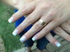 Classy white glitter nails