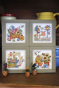 Counted Flowers, Wheel Barrow, Garden Tools plus Birds, Bees and Bugs ALL in FUN Mini Frames to Decorate Your Way Out to Your Own Garden.  Stitched in Colorful DMC Floss on #14 Fiddler Lite Aida.